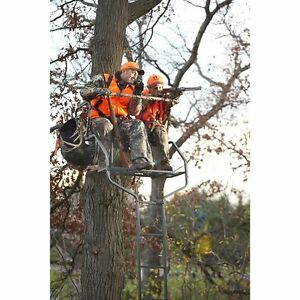 2 Man Ladder Tree Stand For Deer Hunting Bow  18' Deluxe Buddy Platform S