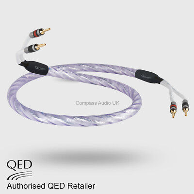 1 x 1.5m QED GENESIS Silver Spiral Speaker Cable AIRLOC Forte Plugs Terminated for sale  Shipping to Ireland