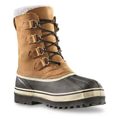 Guide Gear Mens Nisswa Waterproof Winter Boots, Brown,Leather Upper,Rubber Lower