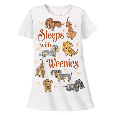 Dog Sleep Shirt - Sleeps with Weenies Dachshund Theme Sleep Shirt Pajamas for sale  Shippensburg