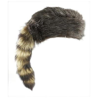 Daniel Boon Davy Crockett Coon Skin Hat Cap Real Coon Tail - Lrg - Coon Hat