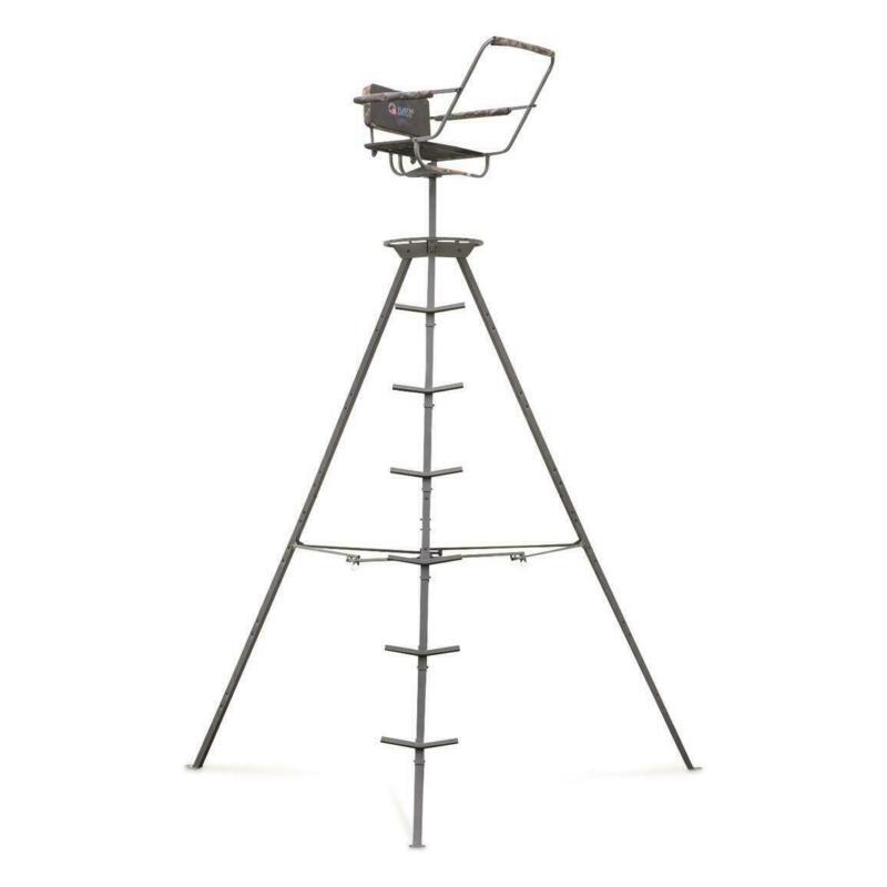 12ft Tripod Deer Stand Portable Swivel Seat 360 Game Hunter Deer Ladder Foldable