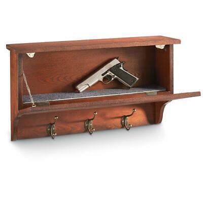 Gun Concealment Wall Shelf Hooks Safe Mounted Wood Veneer Living Room Display