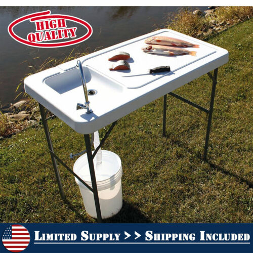 Durable Folding Fish/Game Cleaning Table with Sink-Faucet Cutting Fillet Outdoor