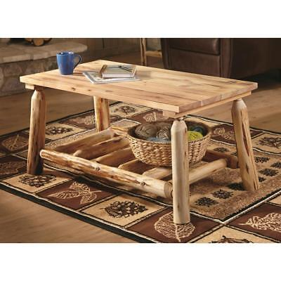 Rustic Natural Pine Log Coffee Table Premium Lacquer Finish Solid Wood Furniture - Natural Log Table