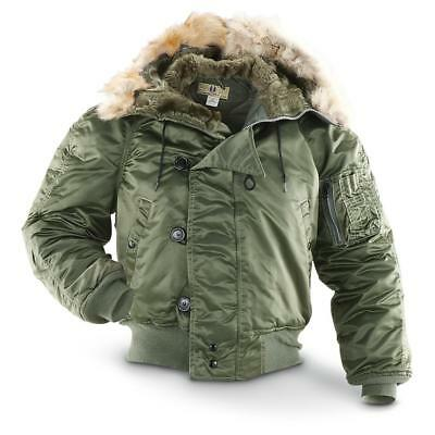 Corinth N2B Flight Parka Coyote Fur Hood Sage NWT, Real Fur Lined Flight Jacket
