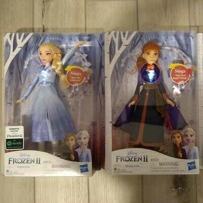 New DISNEY FROZEN 2 II ELSA & ANNA Singing DOLLS Hearts Light Up! Girl Gift
