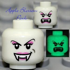NEW-Lego-Glow-in-Dark-VAMPYRE-BRIDE-FEMALE-MINIFIG-HEAD-Dracula-Monster-Vampire