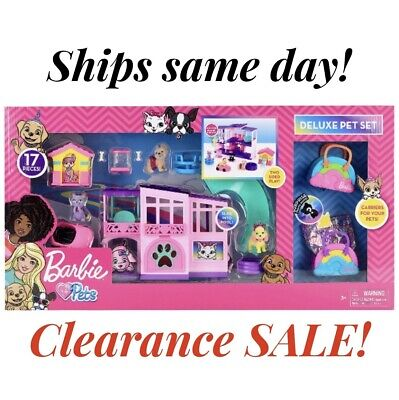 BRAND NEW Barbie Deluxe Pet Set Dreamhouse Barbie Loves Pets 17 Pcs 2020 In Hand