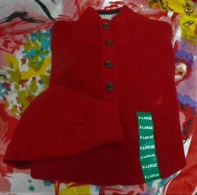 NEW NAUTICA RED L/S MOCK TURTLENECK W/BUTTONS COTTON  PULLOVER SWEATER XL