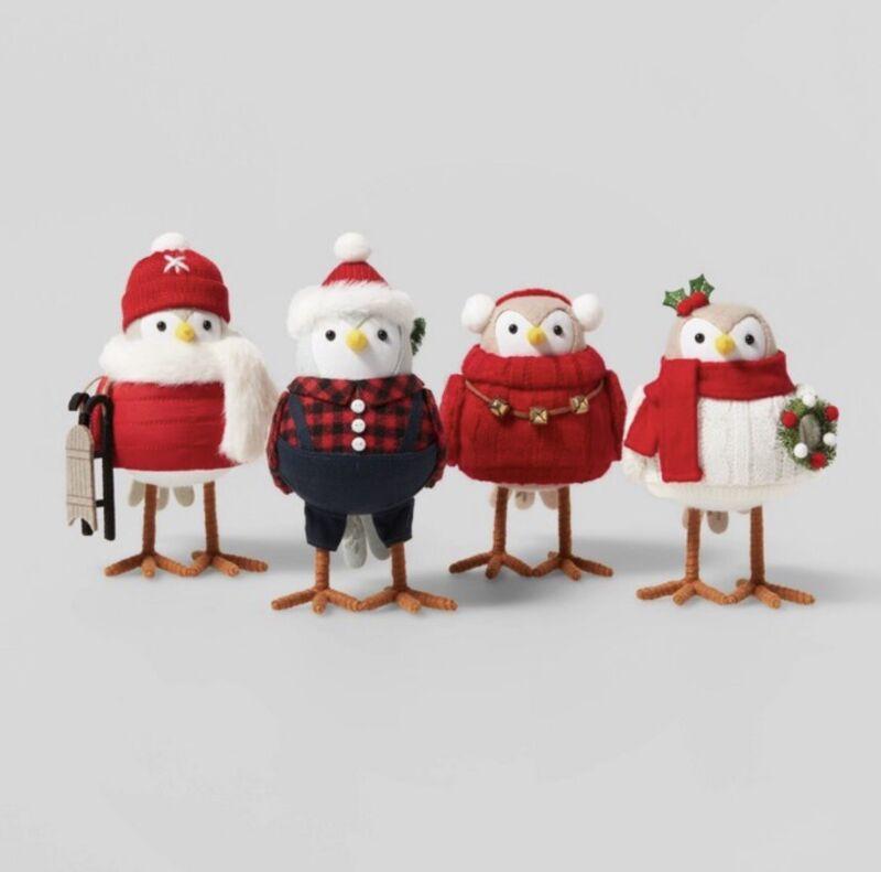 Wondershop Target  4pk Holiday Outdoorsy Birds Decorative Figurine Set 2021