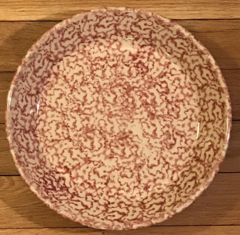 The Workshops of Gerald E. Henn Red White Spongeware Pie Plate Serving Dish