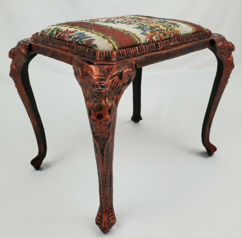 Vintage Cast Iron Lady Leg Copper Footstool Tapestry Top Art Nouveau Victorian