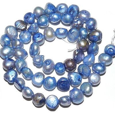 """NP267 Blue 7mm - 8mm Cultured Freshwater Flat-Sided Potato Pearls 15"""""""