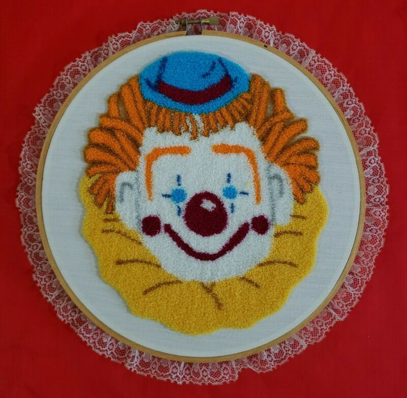 """Vintage Completed Punch Needle Yellow Happy Clown Framed In 8"""" Hoop"""