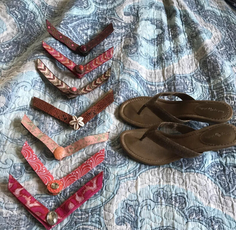 Lindsay Phillips Switch Straps and Tan Heel Sandal Size 8