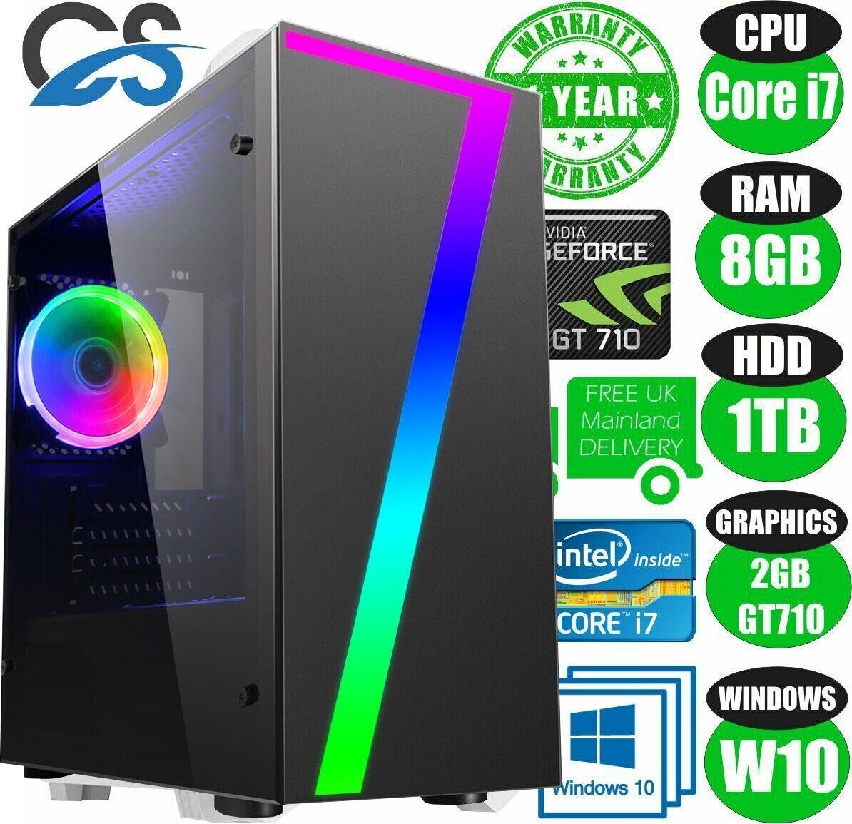 Computer Games - FAST Quad Core i7 Gaming PC 8GB RAM 1TB Nvidia GT710 Windows 10 Desktop Computer