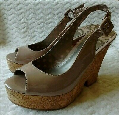 Fergalicious High Heel Cork Wedge Open Toe Slingback Size 7.5M Faux Patent Taupe
