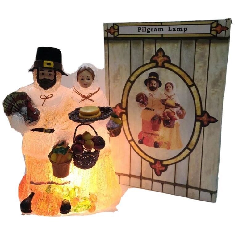 Thanksgiving Pilgrim Couple Lamp Light Up Iced Blow Mold Turkey