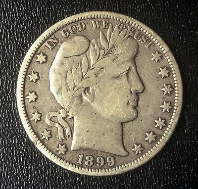 USA 1899 BARBER HALF DOLLAR VF DETAILS