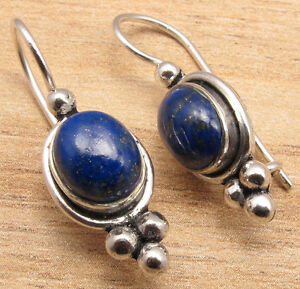 HANDMADE JEWELRY ! Genuine LAPIS LAZULI Gems Girl Earrings , 925 Silver Plated
