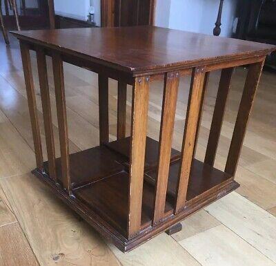 Antique Edwardian miniature Inlaid Mahogany Revolving Bookcase.Table / Desk Top.