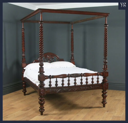 """Antique 5ft 4"""" Victorian Anglo-Indian Colonial Raj King Size Four Poster Bed"""