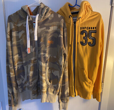 mens superdry hoodie Sz M Sweater Full Zip Spell Out Lot Of 2 Yellow camouflage