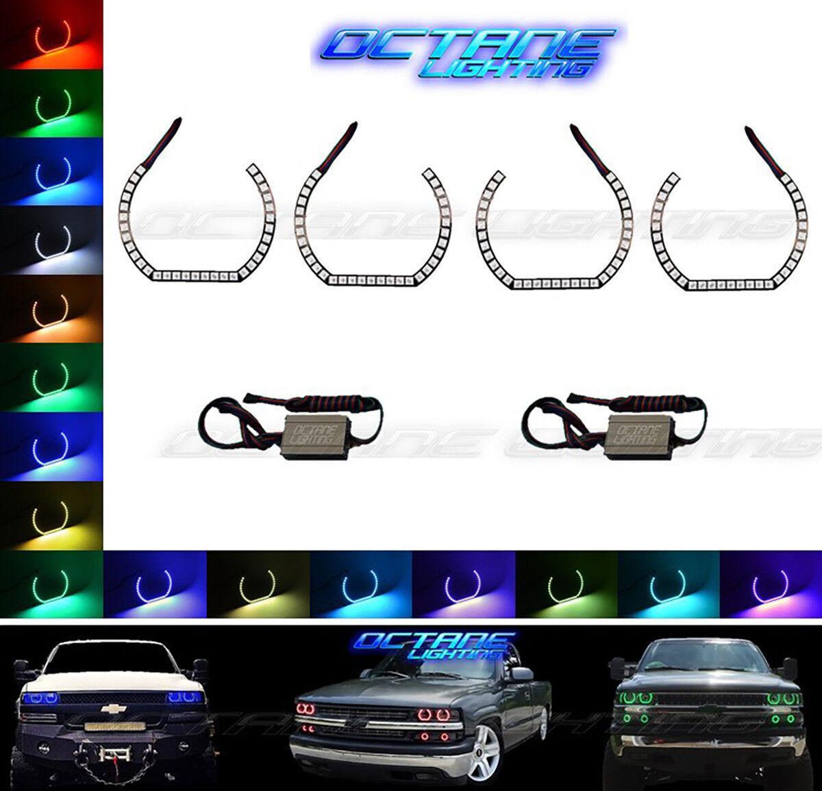 99-02 Chevy Silverado Multi-Color Changing Shift LED RGB Headlight ...