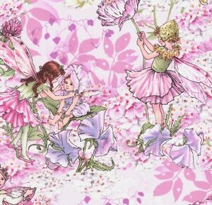 Michael Miller Cicely Mary Barker Flower Fairy Fairies on Pink Fabric - FQ