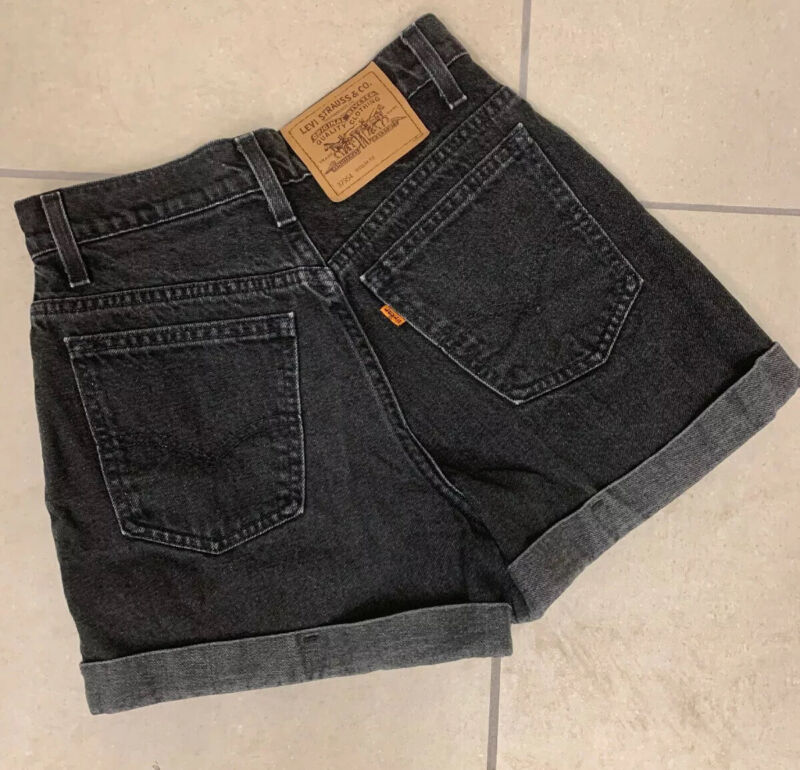 TRUE Vintage 1996 Levis 954 Denim Shorts Orange Tab High Waist  Black Sz 7 26""