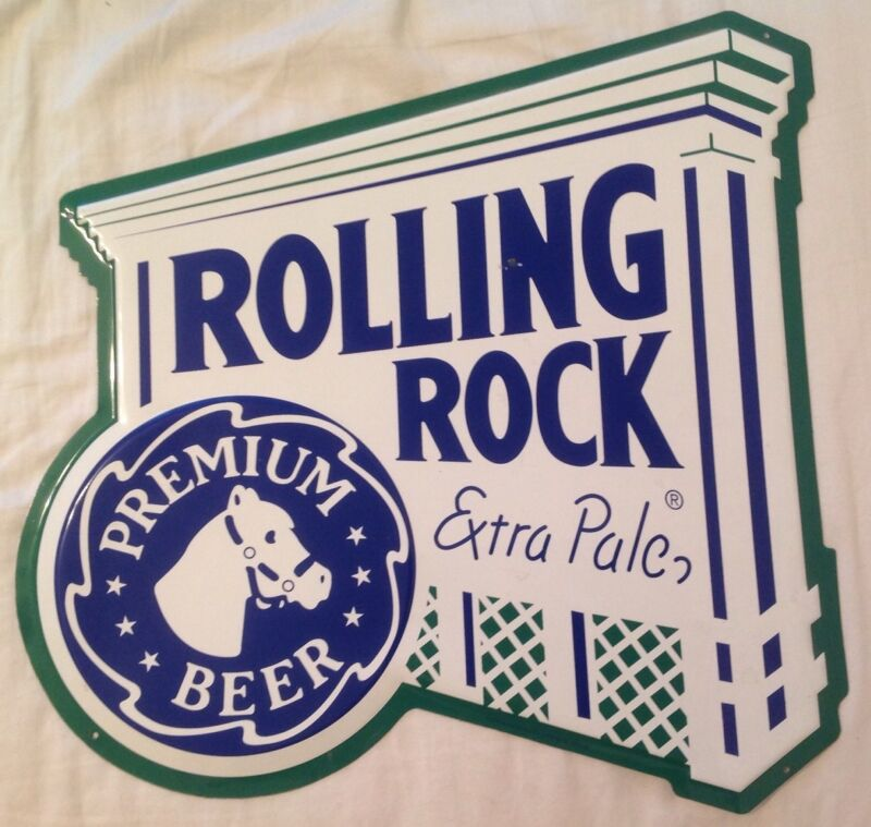 Rolling Rock Premium Beer Metal Bar Pub Sign 1998 Latrobe Brewing, PA