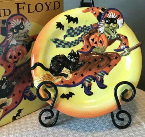 "2003 Fitz and Floyd Witch Hazel Canape Plate Halloween 9"" Cat Pumpkin"