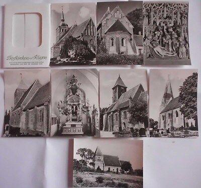 alte Sammelbildmappe Dorfkirchen auf Rügen 8 Stück