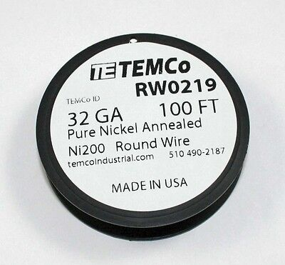 Pure Nickel Wire 100 Ft Spool - 32gauge Rw0219