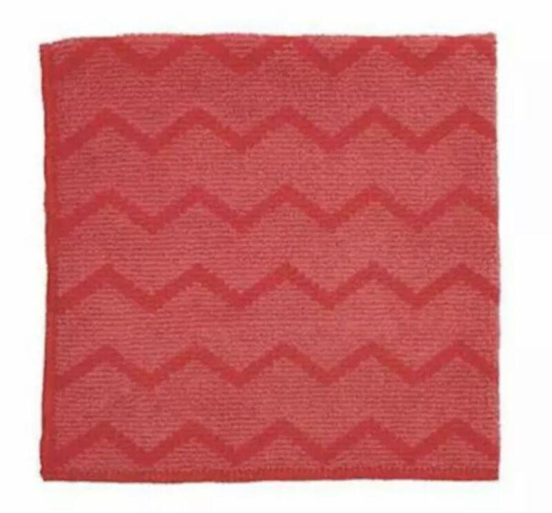 "NEW Rubbermaid Q620 HYGEN 16""x16"" Microfiber General Purpose Cloth Red -12 Pack"