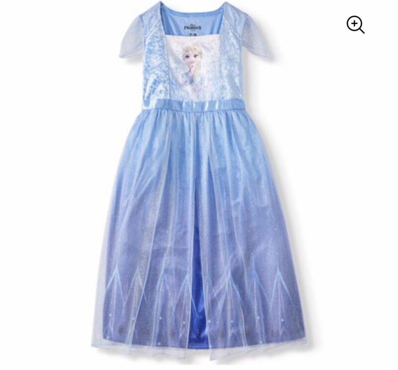 NWT DISNEY FROZEN ANNA  ELSA DRESS NIGHTGOWN PJ PAJAMAS COSTUME GIRLS SZ 5T.