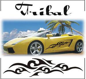 2x TRIBAL STRIPES GRAPHICS CAR VINYL STICKERS DECAL