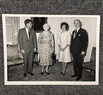 Vintage John F. Kennedy & Jackie Meeting British Prime Minister Press Photo C12