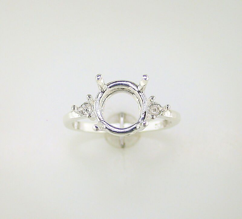 Round Side Accented Ring Setting Sterling Silver