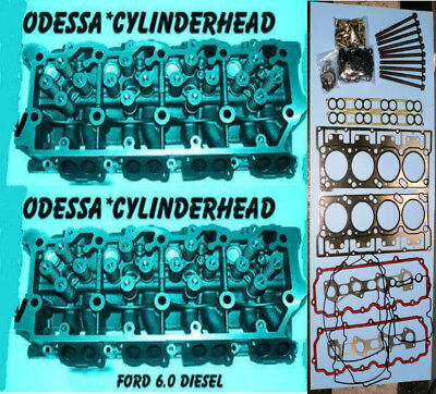 NEW 2 FORD 6.0 TURBO DIESEL F350 CYLINDER HEADS 20mm CAST#613 06&UP BOLTS&GASKET