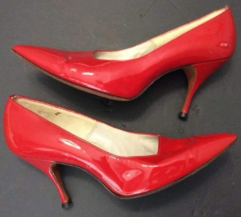 Red Patent Leather Pumps Heels Shoes Vtg 50s Sz 8 Henri Follette Pinup VLV FLAWS