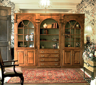 Beautiful Pine 3pc Library Unit, Arched Doors, 3 Top Shelves ea, MADE IN USA