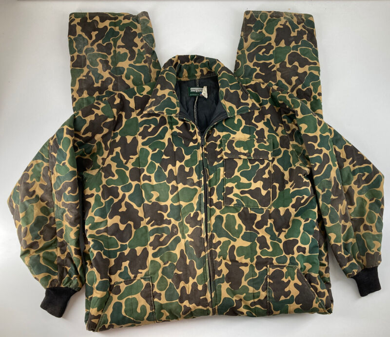 Vintage Saftbak Duck Hunting Camo Coveralls Overalls Insulated Made In USA