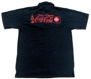 COCA-COLA-COKE-NAVY-RED-POLO-BUTTON-UP-COLLAR-SHIRT-MENS-SIZE-LARGE-L