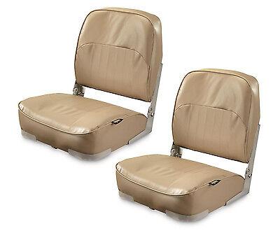(2) Folding Marine Boat Seat Low-Back for Pontoon Boating Fishing Foldable, Sand