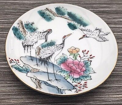 Vintage Japanese Stork Small Plate Or Pin Tray Hand Painted