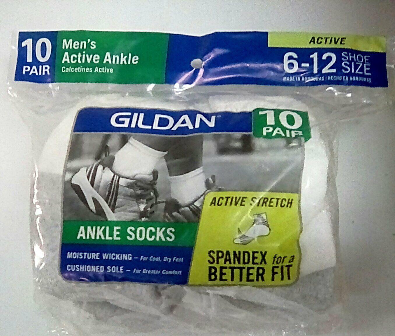 GILDAN MEN'S ANKLE SOCK, ACTIVE STRETCH, WHITE, LARGE, 10 PA