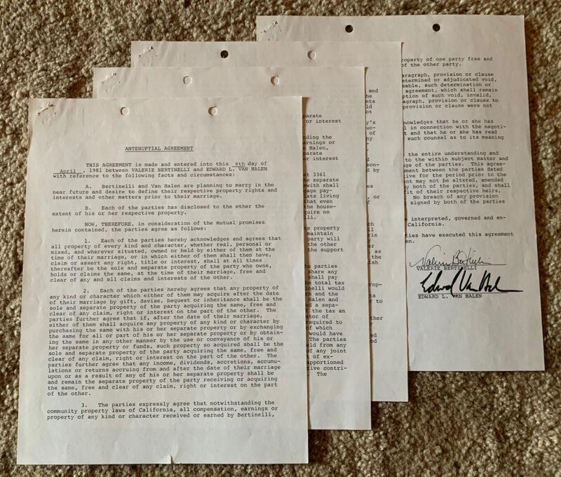 Eddie Van Halen ORIGINAL 1981 Pre Nuptial Agreement Signed BAS Certified RARE