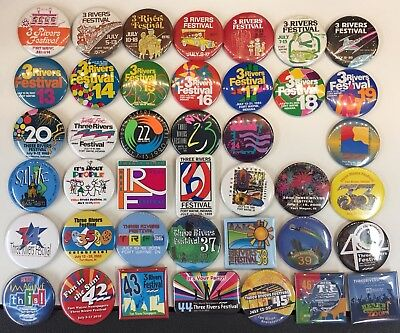 Lot Of 41 Three Rivers Festival Pins Fort Wayne Indiana Pinback
